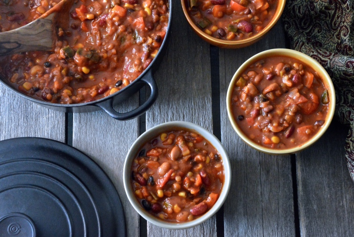 Three-bean and lentil chili