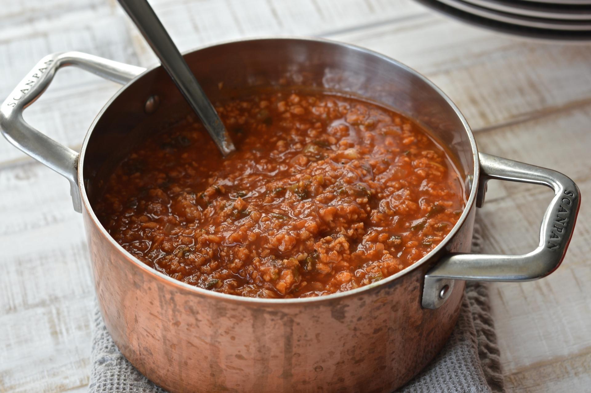 Hydrated soya (TVP) Bolognese sauce