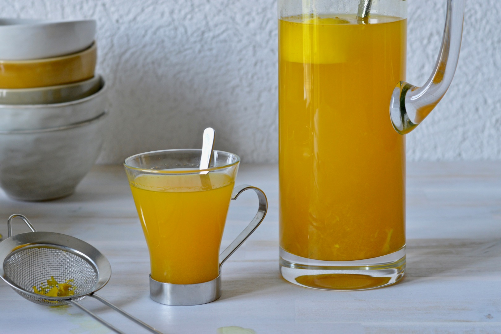 Turmeric, ginger, lemon and honey beverage