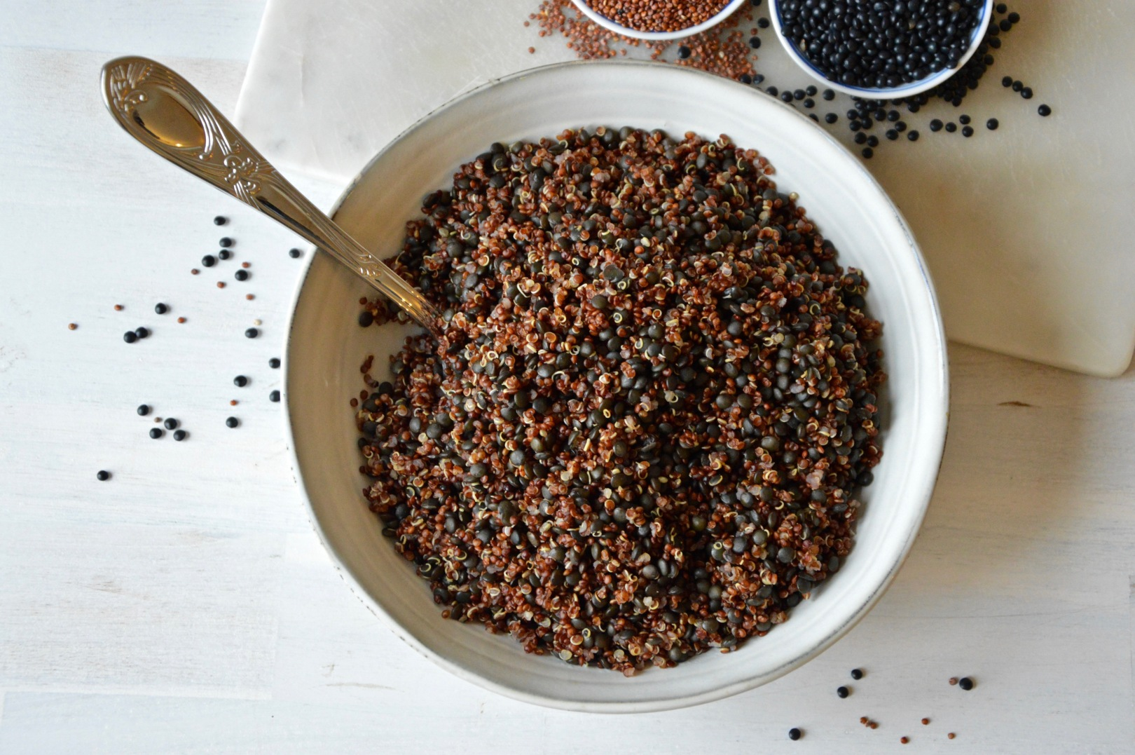 Beluga lentils and red quinoa