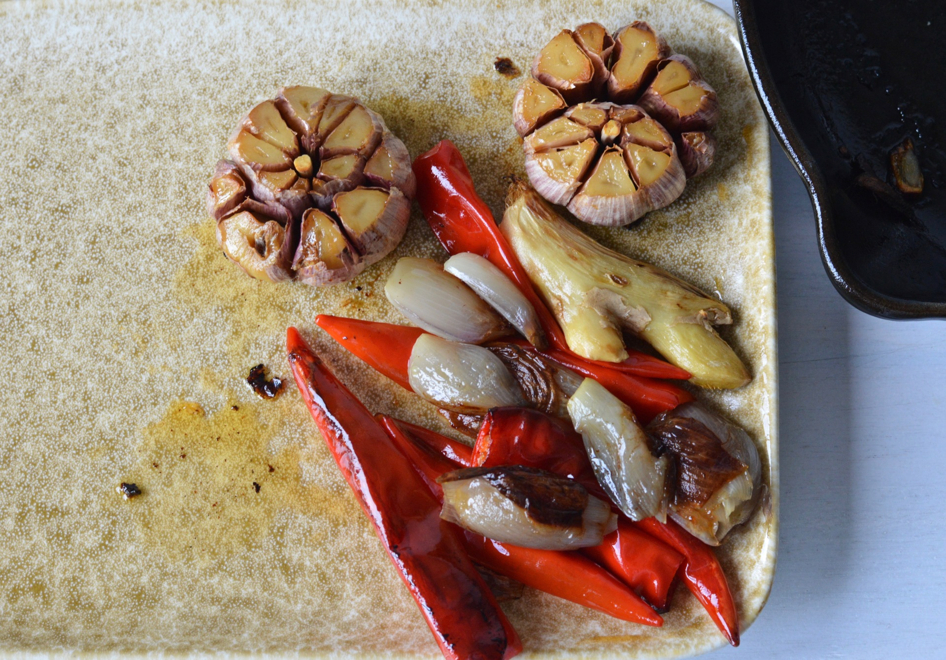 Roasted garlic, ginger, peppers and shallots