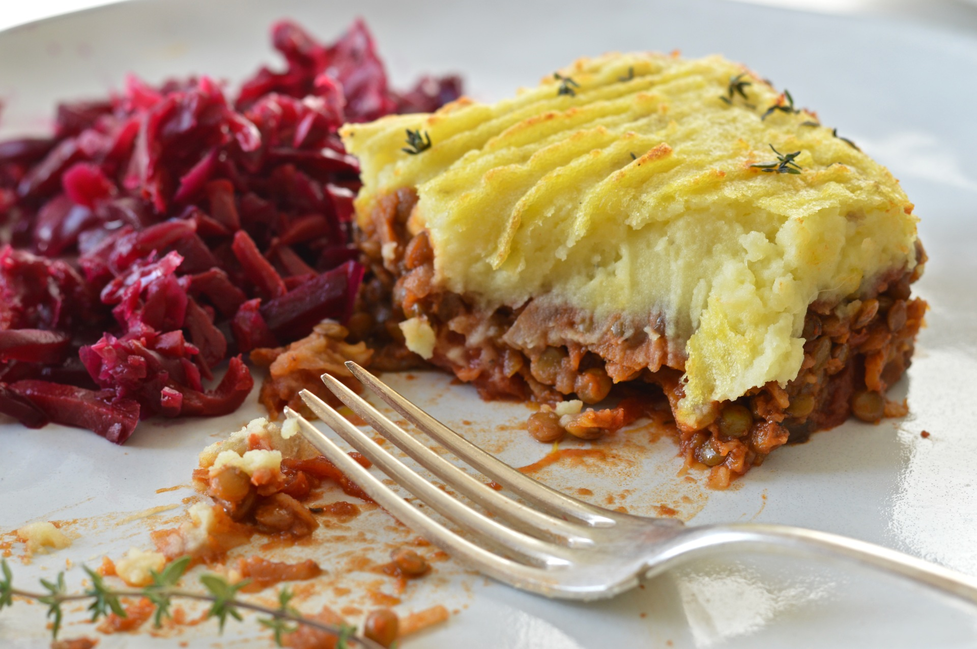 Green lentil shepherd's pie