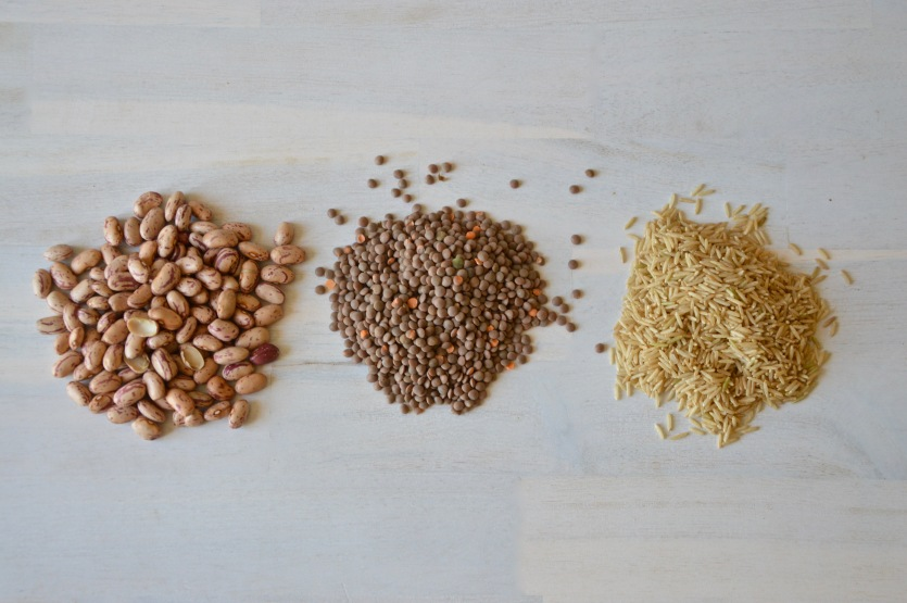 Brown beans, lentils and rice