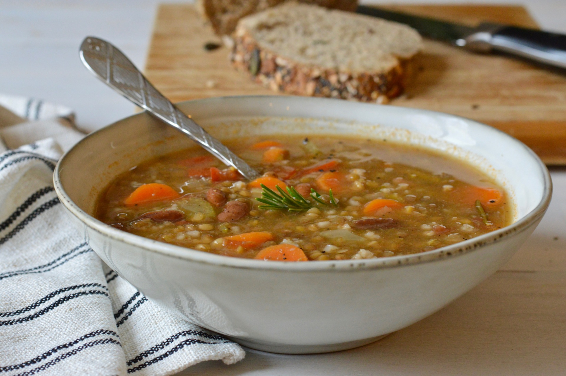 Bean, lentil and rice soup