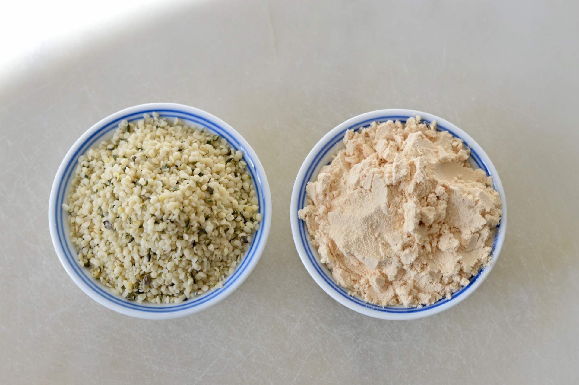 Hemp hearts to your left. Yellow pea protein powder to your right.
