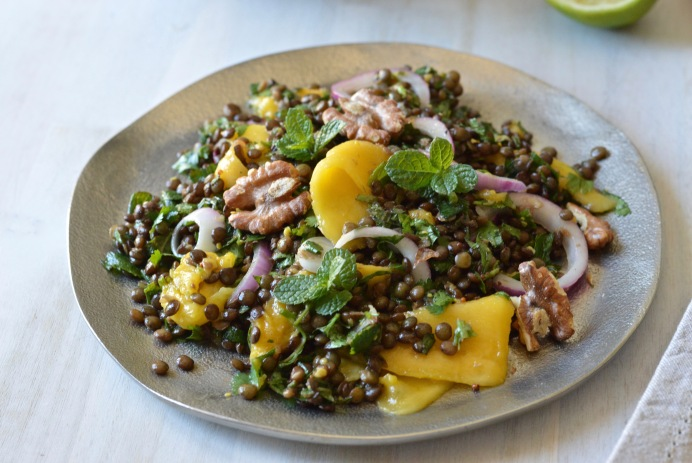 Lentil, herb and mango salad